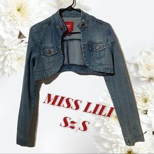 MISS LILI - Sz S - jean jacket denim BOLERO sexy